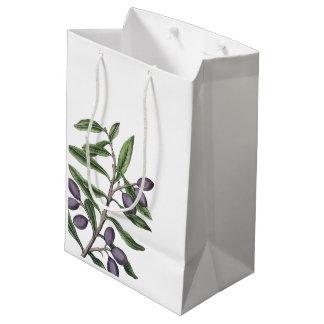 Olive Tree Branch   Green Purple Medium Gift Bag