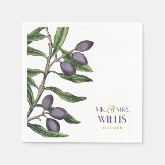 Olive Tree Branch | Green Purple Paper Napkin