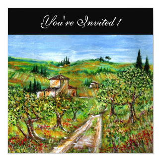 OLIVE TREES IN TUSCANY,yellow green black 13 Cm X 13 Cm Square Invitation Card
