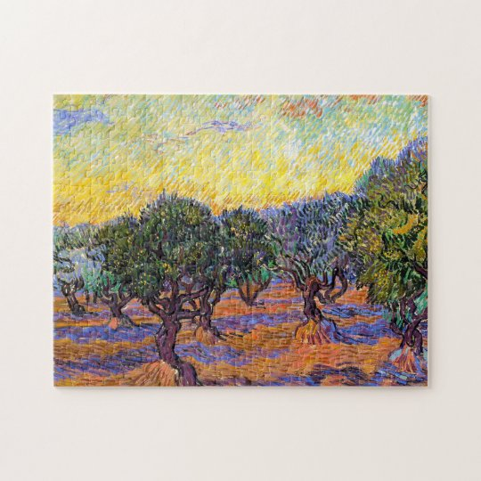 Olive Trees, Orange Sky Van Gogh Vincent Jigsaw