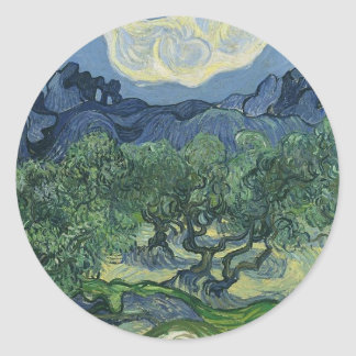 Olive Trees with the Alpilles in the Background Round Sticker