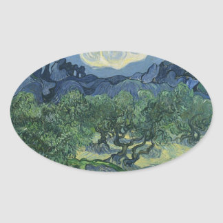 Olive Trees with the Alpilles in the Background Oval Sticker