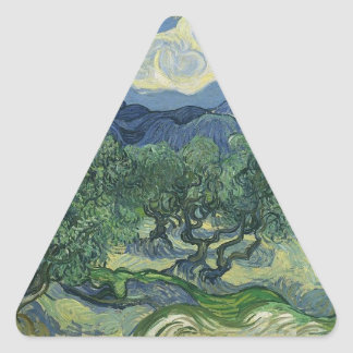 Olive Trees with the Alpilles in the Background Triangle Sticker