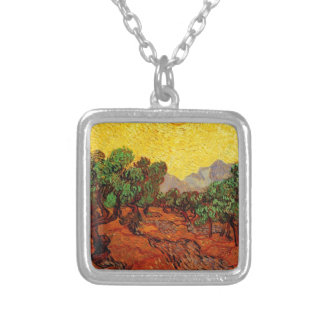 Olive Trees with Yellow Sky and Sun Silver Plated Necklace