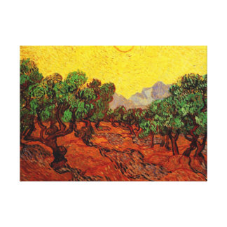 Olive Trees with Yellow Sky and Sun, van Gogh Gallery Wrap Canvas