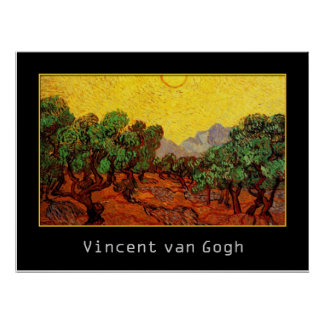 Olive Trees with Yellow Sky and Sun, van Gogh Poster
