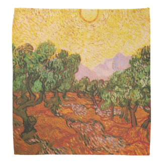 Olive Trees with Yellow Sky & Sun by Van Gogh Bandana