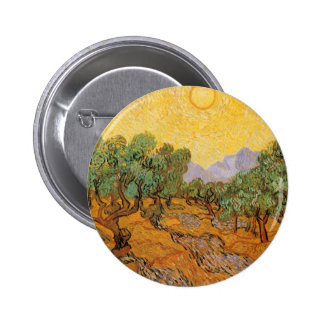 Olive Trees, Yellow Sky and Sun, Vincent van Gogh 6 Cm Round Badge