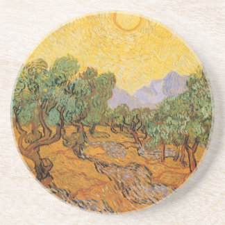 Olive Trees, Yellow Sky and Sun, Vincent van Gogh Coaster