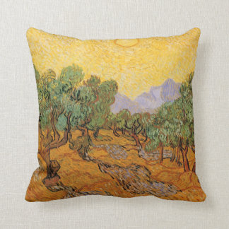 Olive Trees, Yellow Sky and Sun, Vincent van Gogh Cushion