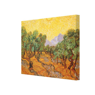 Olive Trees, Yellow Sky and Sun, Vincent van Gogh Gallery Wrapped Canvas