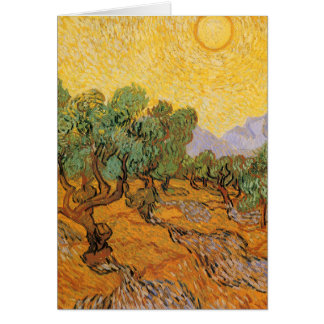 Olive Trees, Yellow Sky and Sun, Vincent van Gogh Greeting Card