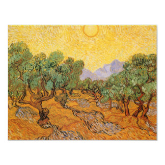Olive Trees, Yellow Sky and Sun, Vincent van Gogh Personalized Invites
