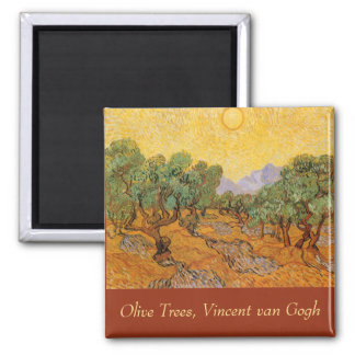 Olive Trees, Yellow Sky and Sun, Vincent van Gogh Fridge Magnets