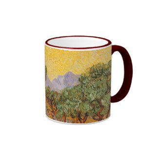 Olive Trees, Yellow Sky and Sun, Vincent van Gogh Coffee Mugs