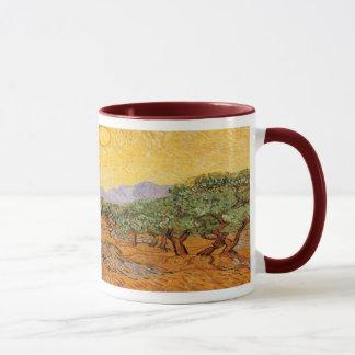 Olive Trees, Yellow Sky and Sun, Vincent van Gogh Mug