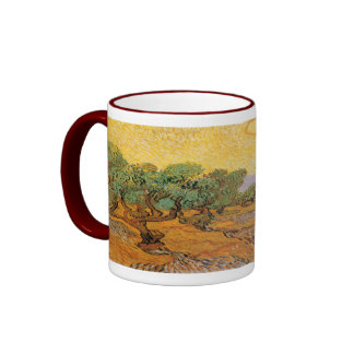 Olive Trees, Yellow Sky and Sun, Vincent van Gogh Mugs