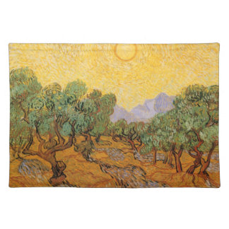 Olive Trees, Yellow Sky and Sun, Vincent van Gogh Place Mat