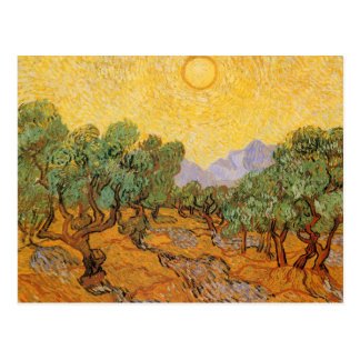 Olive Trees, Yellow Sky and Sun, Vincent van Gogh Postcards