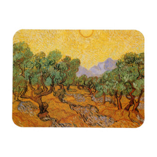 Olive Trees, Yellow Sky and Sun, Vincent van Gogh Rectangular Photo Magnet