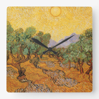 Olive Trees, Yellow Sky and Sun, Vincent van Gogh Square Wall Clock