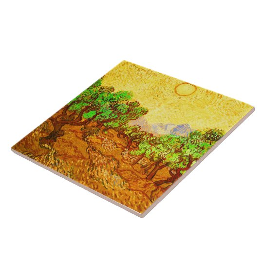 Olive Trees Yellow Sky & Sun Van Gogh Fine Art Large Square Tile
