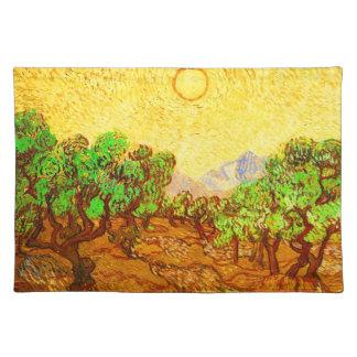 Olive Trees Yellow Sky & Sun Van Gogh Fine Art Placemat