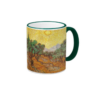 Olive Trees Yellow Sky & Sun Van Gogh Fine Art Ringer Mug