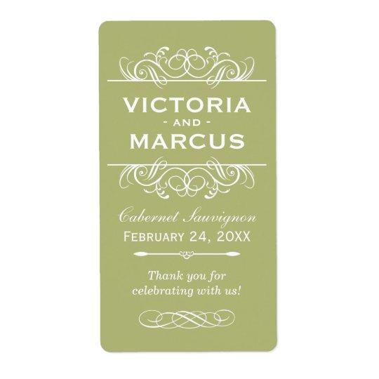 Olive Wedding Wine Bottle Monogram Favour Labels