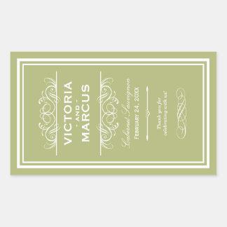 Olive Wedding Wine Bottle Monogram Favour Labels Rectangular Sticker