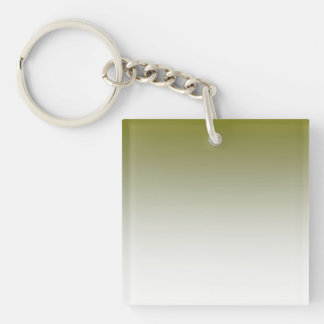 Olive White Ombre Double-Sided Square Acrylic Key Ring
