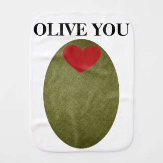 Olive You Baby Burp Cloth