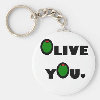 Olive you basic round button key ring