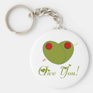 Olive You! Basic Round Button Key Ring