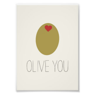Olive You Design Photo Print