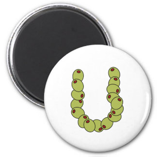 """Olive You """"I Love You"""" 6 Cm Round Magnet"""