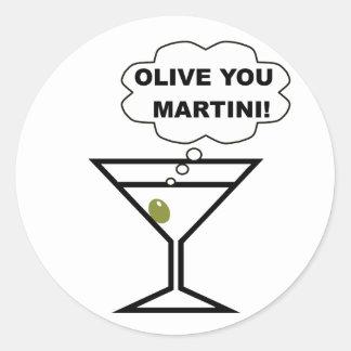 Olive You Martini Classic Round Sticker