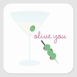 Olive You Square Sticker