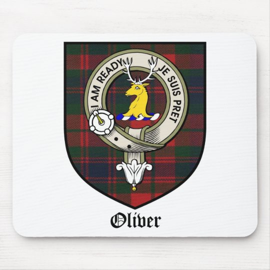 Oliver Clan Crest Badge Tartan Mouse Mat