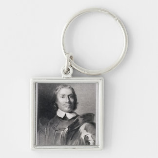 Oliver Cromwell , Lord Protector of England Silver-Colored Square Key Ring