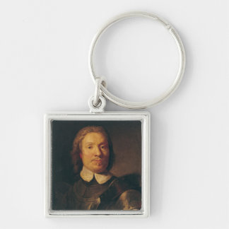 Oliver Cromwell Silver-Colored Square Key Ring