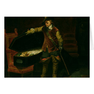 Oliver Cromwell  with the Coffin of Charles I Card