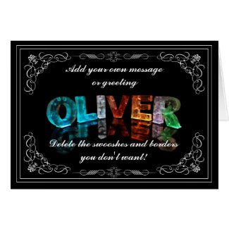 Oliver - Name in Lights greeting card (Photo)