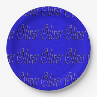 Oliver, Name, Logo, Blue Paper Party Plate, Paper Plate