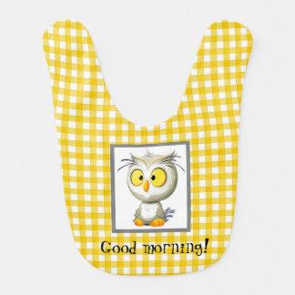Oliver Owl Baby Bib Yellow Gray White