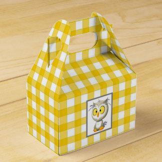 Oliver Owl Yellow & White Baby Shower Favour Box