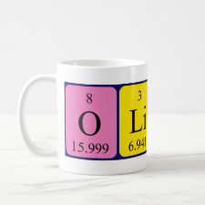 Mug featuring the name Oliver spelled out in symbols of the chemical elements