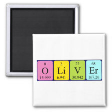 Magnet featuring the name Oliver spelled out in symbols of the chemical elements