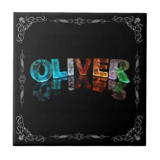 Oliver - The Name Oliver in 3D Lights (Photograph Ceramic Tile
