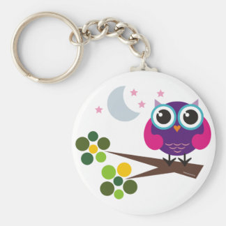 oliver, the owl basic round button key ring